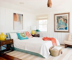 coastal bedroom with pops of color