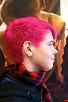 Bleached, cropped, and pinked.  *Paul Mitchell, Inkworks colour.