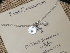 Items similar to First Communion Gift, Personalized First Communion Jewelry, Holy Communion Necklace for Girls, Sterling Silver First Holy Communion Necklace on Etsy First Communion Gifts, First Holy Communion, Christian Jewelry, Christian Gifts, Catholic Confirmation Gifts, Goddaughter Gifts, Necklace Packaging, Daughter Of God, Message Card