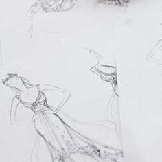 Candice Lake's wedding dress sketches by Alberta Ferretti photographed by Stefano Moro Van Wyk