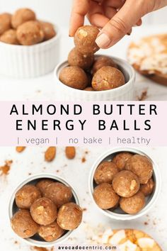 These vegan almond butter energy balls are so delicious, simple, and also made with no oats. In addition, they are easy to make, a healthy treat, quick, gluten free, and no bake! These vegan almond butter energy bites are made from just 6 main ingredients and you don't need a food processor. I always make a big batch of no bake energy balls because they are perfect for a post-workout snack, an afternoon snack or breakfast on the go! #energyballs #almondbutter #nobake #vegansnack #vegandess Dairy Free Snacks, Healthy Vegan Snacks, High Protein Snacks, Savory Snacks, Healthy Cookies, Easy Snacks, Vegan Recipes Easy, Vegan Desserts, Snack Recipes