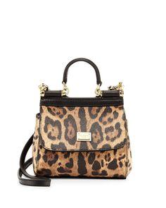 Dolce & Gabbana Miss Sicily Mini Leopard-Print Crossbody Bag, Nude/Black
