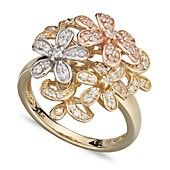 Diamond Ring, Tri Tone Diamond Flower Ring (1/2 ct. t.w.)