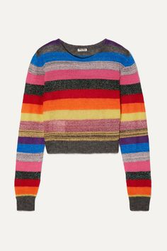 Miu Miu's sweater has a cropped silhouette and lightweight feel, making it a perfect choice for transitioning through the seasons. It's knitted with touches of wool, mohair and cashmere for added softness and fits comfortably. The colorful stripes make it so easy to style, while the metallic threads give it a cool, shimmering finish. V Neck Cardigan, Oversized Cardigan, Cashmere Cardigan, Cute Spring Outfits, Cool Outfits, Preppy Trends, Tabitha Simmons, Striped Knit, Red Sweaters