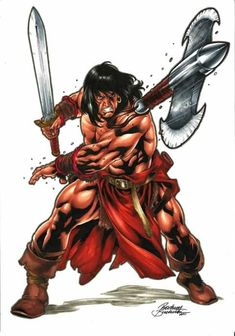 art by adailson Conan Comics, Marvel Comics, Marvel E Dc, Comic Book Characters, Comic Character, Fantasy Characters, Fantasy Heroes, Fantasy Warrior, Fantasy Images