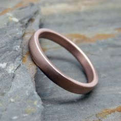 Rose Gold Wedding Band  3mm Flat Wedding Ring in by Brightsmith