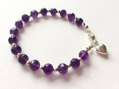 Amethyst and Sterling Silver Heart Charm Bracelet Amethyst Bracelet, Evil Eye Necklace, Silver Pendant Necklace, Crystal Bracelets, Heart Charm, Beaded Jewelry, Gemstones, Sterling Silver, Deep Purple