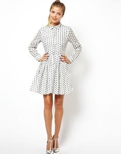 Image 4 ofASOS Shirt Dress In Jacquard Spot $61