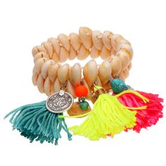 Shells and fluor tassels are the best. Bracelet LOVE!