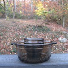 Vintage Brown Glass Bakeware - Anchor Hocking - Casserole/ Custard Cups