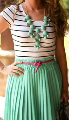 Super cute stripe top and mint skirt