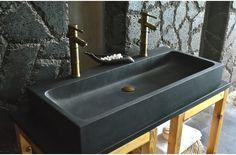 1000mm Double Basins Sink Wet Room Black Basalt Stone LOOAN DARK