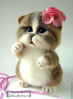 Купить Кошечка Сима - коричневый, кошечка, кошка, коты и кошки, войлочная игрушка, игрушка из шерсти