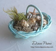 Seaside Basket of Shells and Starfish - Hand Painted - Oblong Basket