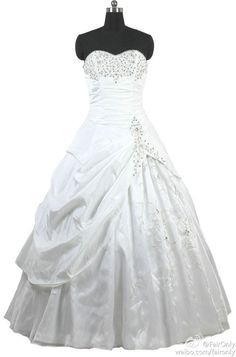 FairOnly Embroidery Beads Bridal Gown Wedding Dress Custom Size 6 8 10 12 14 16+