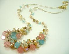 Sweet color cherry quartz,crystal,hand-knotted on silk thread necklace.. $14.50, via Etsy.