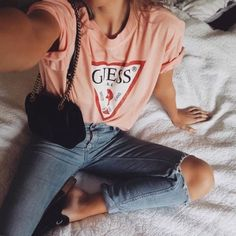 The original wears the Classic Logo Tee (link in bio to shop it) Classy Outfits, Trendy Outfits, Summer Outfits, Cute Outfits, Fashion Outfits, Girly Outfits, Modest Fashion, Guess Shirt, Guess Jeans
