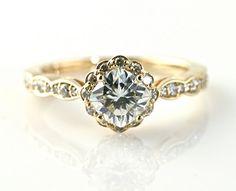 14K Cushion Moissanite Engagement Ring Diamond Halo by RareEarth, $1135.00