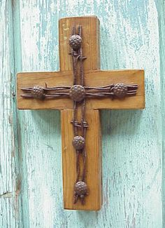 repurposed barbed wire   barbed wire cross repinned from down to the barbed wire by audrey ...