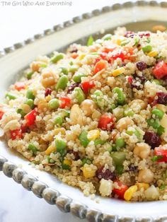 Edamame Quinoa Salad   The Girl Who Ate Everything--- I have never tried Quinoa or Edamame but this looks really good so I'm gonna give it a try, looks like a nice summer salad and I am thinking it would be a great dish for after surgery!! Fingers crossed