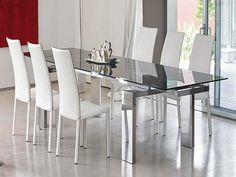 White Color 6 Chair Contemporary Glass Dining Room Table Sets | DiningRoomImage