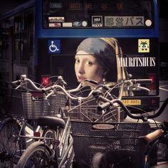 bicycle tokyo bus street pearl vermeer jj statigram girl earring photooftheday
