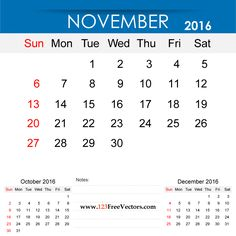 Free Download November 2016 Calendar Printable Template Vector Illustration. Can be used for business, corporate office, education, home etc.Free Editable Monthly Calendar November 2016 available in Adobe Illustrator Ai