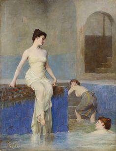 Theodoros Rallis - The pool French Salon, Chios, Pre Raphaelite, Love Painting, Gods And Goddesses, Art Google, Creatures, Statue, Fine Art