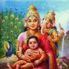 Maa Durga Maa Amba With Baby Ganapati and Kartikeya Shiva Parvati Images, Shiva Hindu, Shiva Art, Hindu Deities, Hindu Art, Shiva Shakti, Krishna Krishna, Lord Ganesha Paintings, Lord Shiva Painting