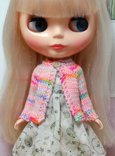 BLYTHE doll hand knit wool cardigan sweater  pink by TiredMomKnits