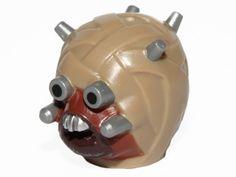 3 sets Dark Tan BrickLink - Part 18934pb01 : Lego Minifig, Head Modified SW Tusken Raider with Flat Silver Head Spikes [Minifig, Head, Modified] - BrickLink Reference Catalog