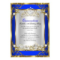 Princess Quinceanera 15th Birthday Royal Blue 2 Cards by zizzago.com