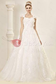 Aライン/プリンセスキャップスリーブ床までの長さコートレースウェディングドレス
