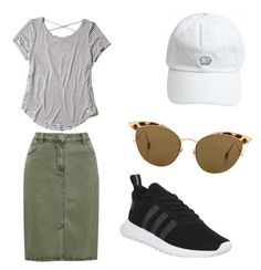 A fashion look from August 2017 featuring white stripes shirt, khaki green skirt and adidas. Browse and shop related looks. Cute Modest Outfits, Modest Skirts, Casual Skirt Outfits, Sporty Outfits, Cute Fashion, Modest Fashion, Look Fashion, Fashion Outfits, Modest Clothing