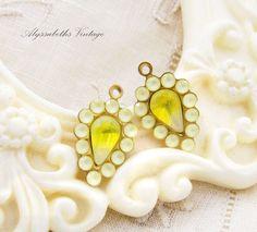 Swarovski Matte Yellow Rhinestone and Yellow Sabrina Teardrop Glass Stones Earring Dangle Charms Drops 20x12mm - 2 by alyssabethsvintage on Etsy