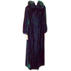 Art Deco Deep Viridian Green Silk Velvet Floor Length Coat