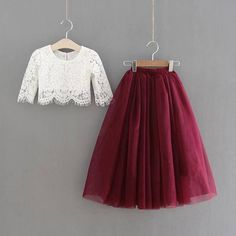 Sarah Lee 2 Pc Lace Top and Tulle Skirt Flower Girl Set Bold in Burgundy, this stunning two piece se Kids Frocks, Frocks For Girls, Dresses Kids Girl, Dance Outfits, Kids Outfits, Look Fashion, Girl Fashion, Dress Fashion, Fashion Outfits