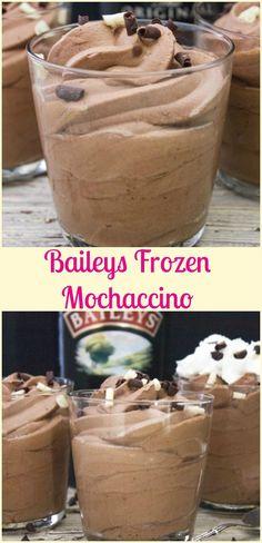 Baileys Frozen Mochaccino a delicious creamy frozen dessert you will ever taste…. Baileys Frozen Mochaccino a delicious creamy frozen dessert Alcoholic Desserts, Dessert Drinks, Yummy Drinks, Dessert Recipes, Yummy Food, Alcoholic Shots, Alcoholic Ice Cream Drinks, Amaretto Drinks, Baileys Drinks