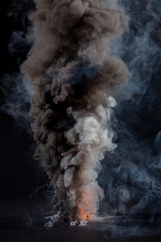 ☆ Artist Kevin Cooleyゝ。Swirling and imposing clouds of smoke contend with one another in a physical battle between diametrically opposing explosions of Black and White. From a structuralist point of view, this imagery serves as metaphor for binary opposition, e.g. Good vs. Evil or Day vs. Night.。☆