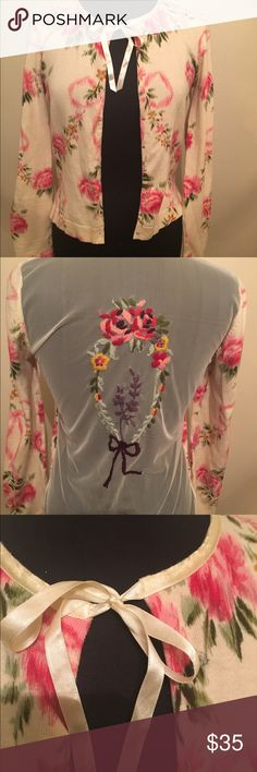 Anthropologie Floral Cardigan Medium Beige Anthropologie Cardigan size Medium Beige Floral with Sheer back small stain on back priced according Anthropologie Sweaters Cardigans