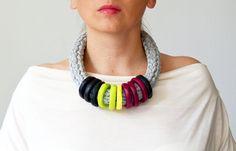 Big bold chunky statement necklace/metal free necklace/chunky statement necklace/crochet necklace/plus size jewelry/extravagant jewelry/bold by IKKX on Etsy https://www.etsy.com/listing/165450038/big-bold-chunky-statement-necklacemetal