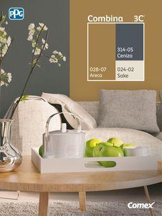 Tres colores son suficientes para balancear tu hogar <3 #Combina colores y transforma tu espacio.
