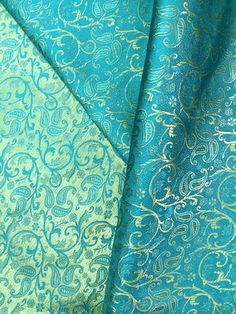 Your place to buy and sell all things handmade Indian Textiles, Indian Fabric, Turquoise Cottage, Aqua, Shades Of Turquoise, Brocade Fabric, Mint, Tiffany Blue, My Favorite Color