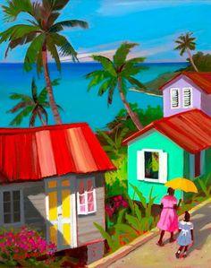 caribbean art - by Shari Erickson Caribbean Homes, Caribbean Art, African American Art, African Art, Scrapbooking Image, Haitian Art, Tropical Art, Naive Art, Pictures To Paint