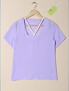 Stylish U-Neck Solid Color Criss Cross Design Chiffon T-Shirt For Women