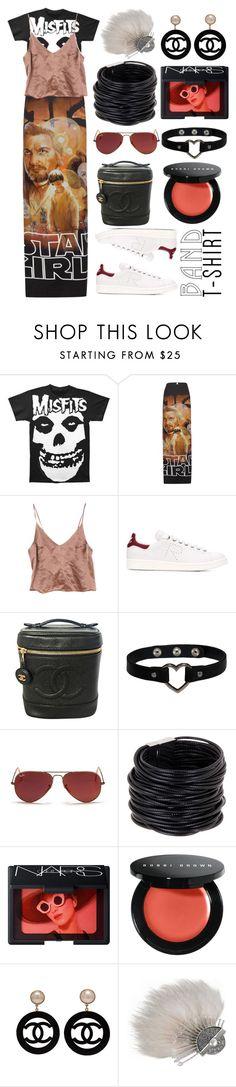 """misfitifsim"" by michelledhrm ❤ liked on Polyvore featuring Vetements, adidas, Chanel, Ray-Ban, Saachi, NARS Cosmetics, Bobbi Brown Cosmetics, Fendi, bandtshirt and bandtee"