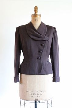 40s jacket  1940s brown wasp waist jacket by QuinceVintage on Etsy, $66.00