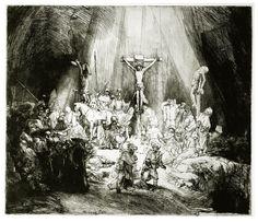 Esta é uma das obras-primas mais formidáveis de Rembrandt como gravurista. Aqui, ele ilustrou o momento da morte de Cristo. Uma inundação de luz sobrenatural ilumina o chão imediatamente à volta da cruz. Sombras escuras preenchem os quatro cantos, e as duas figuras que se apressam fora no primeiro plano são mostrados em silhueta contra o brilho.