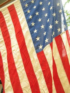 Vintage American Flag 48 Star with Pole by PassedBy on Etsy, $58.00