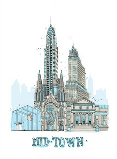 """""""All The Buildings in New York"""" illustration"""